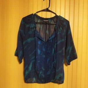 2/$16 Express Blouse Blue/Green Size XS